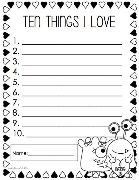 """February Printable Packet - Kindergarten Literacy and Math. """"Ten Things I Love"""" list writing activity."""