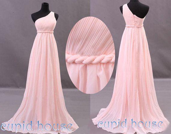 Cheap Black N White Wedding Dresses: Long Pink Bridesmaid Dress One-shoulder Mint Coral Grey