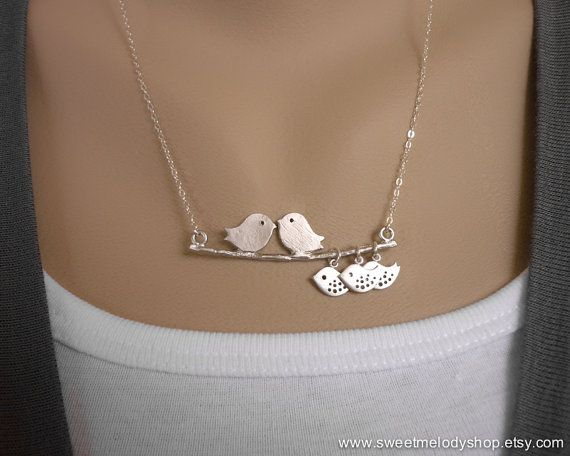A Family of 5, Love Birds with 3 Baby on Branch Silver Necklace, Sterling Chain, mother daughter, baby shower gift, mom gift, daughter gift