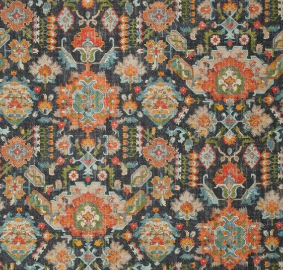 A transitional ikat upholstery and drapery fabric in a modern color palette of dark coral orange, teal, light aqua, dark gold, ivory and black. This 54 wide home decor fabric is suitable for light upholstery, headboards, all window treatments, bedding and pillows. See curtain/roman shade information and custom pillow cover pricing below. This listing is for fabric by the yard.  FABRIC SAMPLES:  Fabric Name for Sample Order: Davis Order Fabric Swatches Here: https://www.etsy.com...