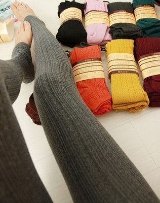 Stirrup sweater leggings $5 Black or maroon/dark red. Dark grey is nice too. Perfect for fall/winter
