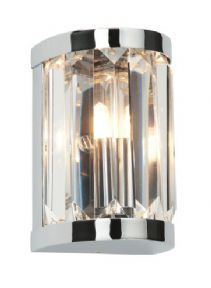 £37.96   Product Type -  Glass     Fitting Finish -  Chrome effect plate & clear crystal detail     Product Measurements -  75mm projection x 130mm height x 85mm width     Bulb Included - Yes     Bulb Type -  1 x 28W G9 clear capsule