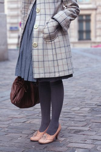 lovely greyCherries Blossoms, Plaid Coats, Fashion Shoes, Style, Girls Winter Outfit, Tights, Girls Fashion, Pink Shoes, Girls Shoes