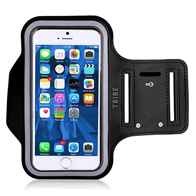 Water Resistant Cell Phone Armband: 5.2 Inch Case for iPhone 8, 7, 6, 6S, SE, 5, 5C, 5S, and Galaxy S5, Google Pixel - Adjustable Reflective Velcro Workout Band, Key Holder & Screen Protector