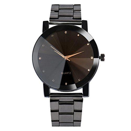 FAMILIZO Mujeres Hombres Cristal De Acero Inoxidable De Reloj De Cuarzo Reloj De Cuarzo De Reloj De Cadena De Pulsera (Negro) #relojes #viceroy
