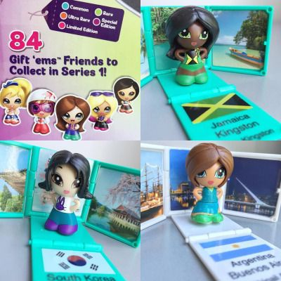 Each doll is a little present to open, and inside there is a doll and a beautiful backdrop to represent the city they're from.   Not only are these cute and fun to collect, they are also educational! Girls can learn about different cities, countries and their flags.