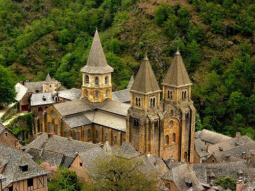 EARLY ROMANESQUE: Sainte Foy at Conques. c.1050-1120. High in the hills of southern France, the picturesque little village of Conques is home to a magnificent church. The relics of St. Foy were originally displayed in a shrine in the choir, encircled by a fine wrought-iron screen. LINK to read more.