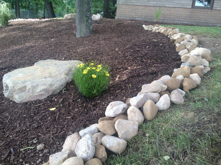 Large river rock makes an incredible border large river for Large river stones for landscaping