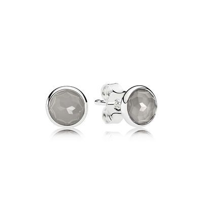 c021be793 PANDORA's sterling silver birthstone earring studs for the month of June  feature striking grey moonstones. The mysterious gem is associated with the  moon ...