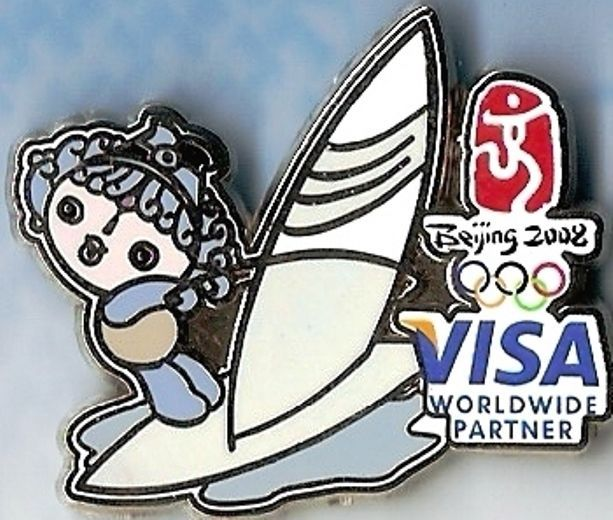 2008 Beijing VISA Sailing Olympic Mascot GM Sports Pin   | eBay