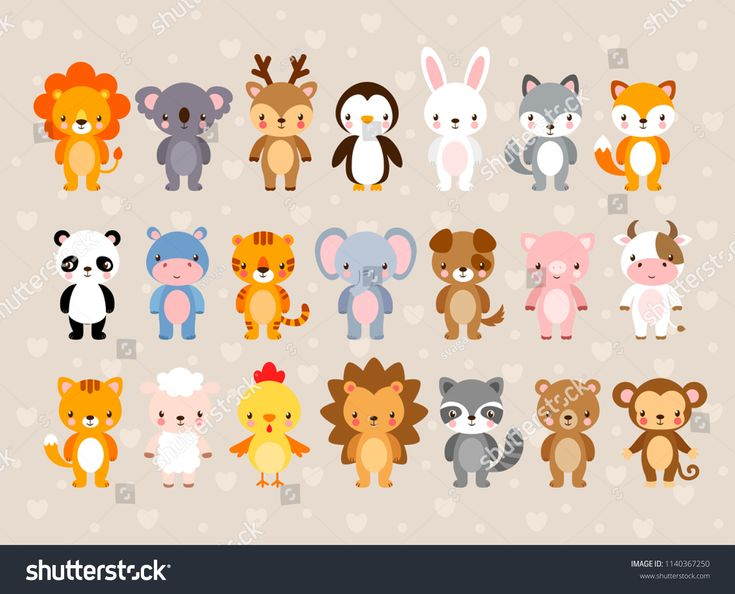 Big vector set with <b>cute</b> animals. Illustration in a <b>cartoon style</b> on a ...