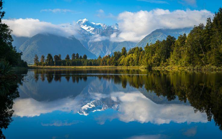 Pobierz tapeta las, niebo, chmury, góry, jeziora, Nowa Zelandia, przekroje w rozdzielczości 2048x1365