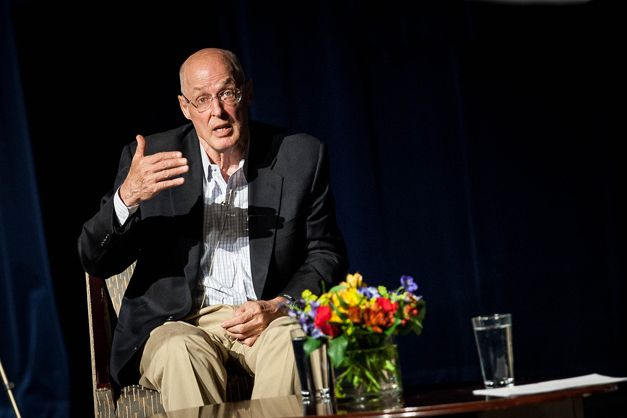 """Former U.S. Treasury Secretary and 1964 BHS graduate Henry """"Hank"""" Paulson shares sage advice for students and addresses questions at Barrington High School about his leadership role during the financial crisis... http://wp.me/p1NGbX-NHi"""