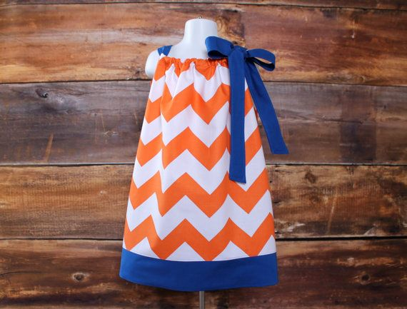Orange Chevron Dress (Pick Trim Color)- Newborn to Child Size 7/8 pillowcase dress baby toddler infant Gators Mets NY Knicks Thunder Broncos on Etsy, $20.99