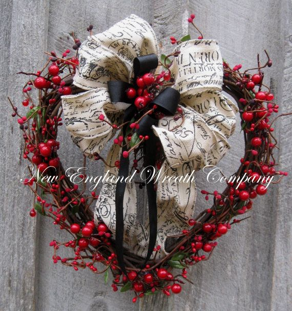 Valentine Wreath, Heart Wreath, Designer Wreath, Berries, Country French, Rustic Wedding