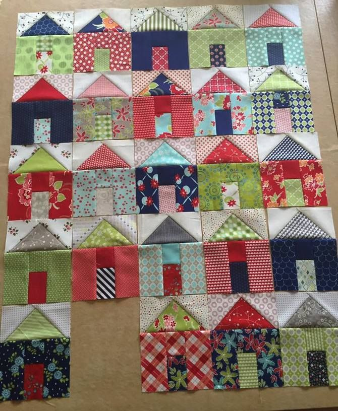Pat sloan group of villages  house quilt block, house quilt, pieced house