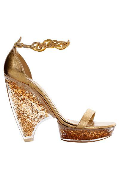 chaussures alexander mcqueen dorees