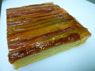 A gluten-free rhubarb up-side-down cake.