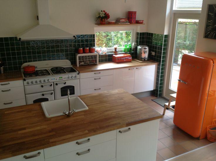 Retro keuken met Smeg koelkast en Falcon fornuis