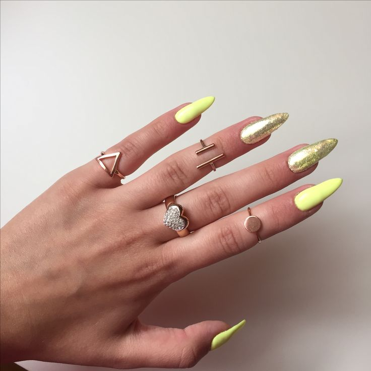 Yellow And Gold Nails Pixel Effect Snow White Indigo Summer