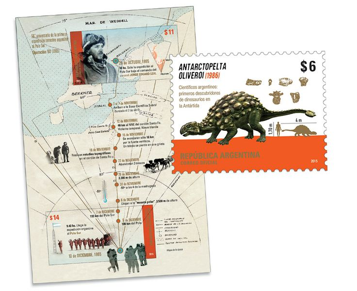 COLLECTORZPEDIA: Argentina Stamps First discoverers of dinosaurs in Antarctica