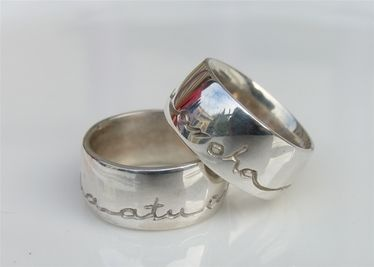 Debra Fallowfield : Inscribed ring. Aroha mai, Aroha atu