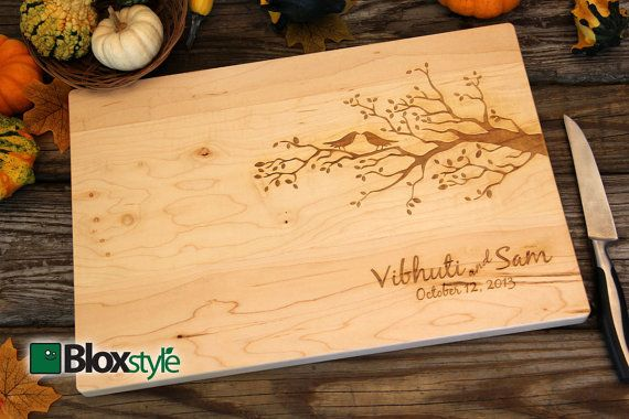 Personalized/ Engraved Cutting Board with Birds & Tree/ Tree Design 11Hx16L, Personalized Wedding Gift, Bamboo, Custom Cutting Board