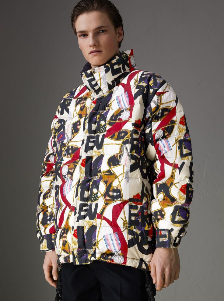 Graffiti Archive Scarf Print Downfilled Puffer Jacket by