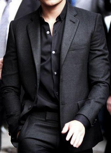 black shirtsMen Clothing, Grey Suits, All Black, Shirts, Men Style, Men Fashion, Men'S Fashion, Black Suits, Black On Black