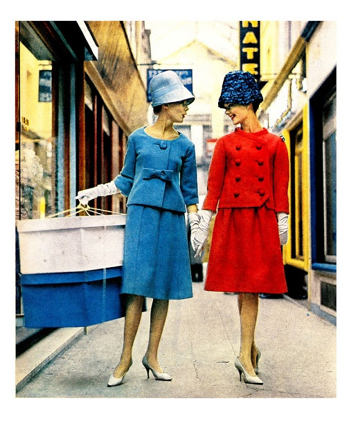 1960 - Pierre Cardin blue suit & YSL for Christian Dior red suit in ELLE France