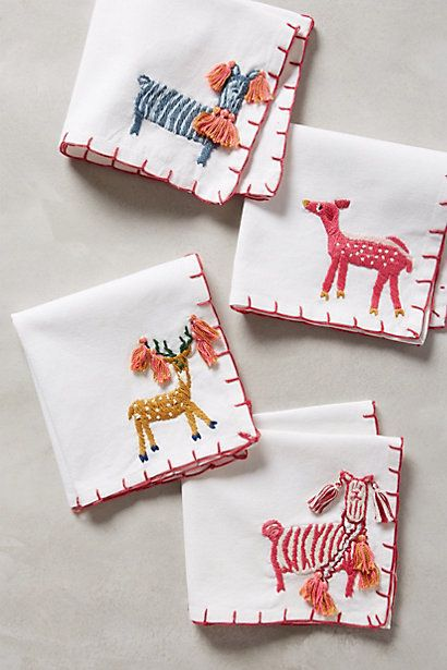 ♒ Enchanting Embroidery ♒  adorable embroidered cocktail napkins