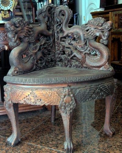 antique dragon corner chair