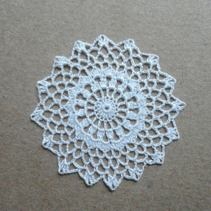 Miniature crochet round doily in white 1.5 inches 1:12 by MiniGio