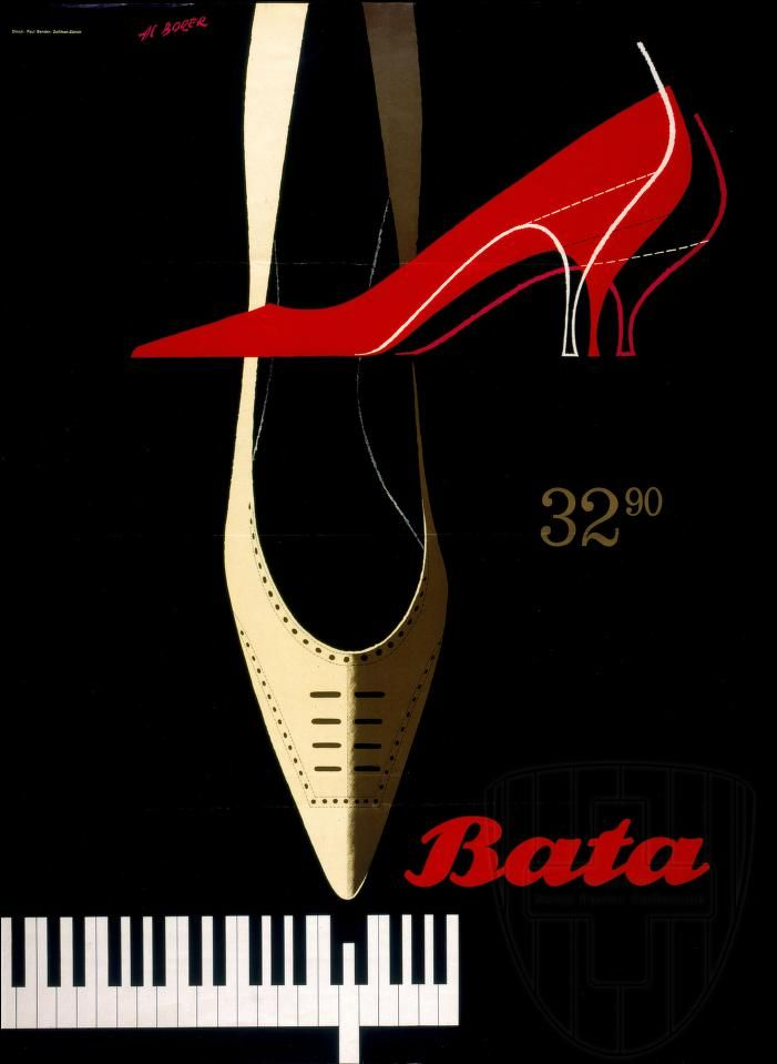 Bata 32.90 by Al Borer, Switzerland, ca. 1962 #batashoes #bata120years #advertising