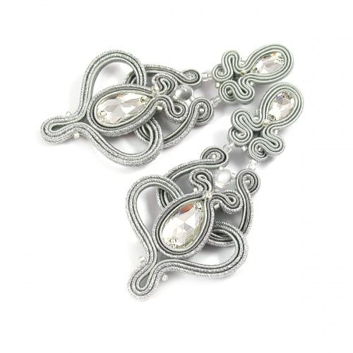 Frosted <3 Gray and silver soutache, dual sided earrings. www.pillowdesign.pl #earrings #soutache #bridal #bride