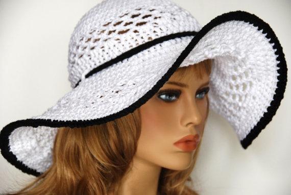 Crochet sun hat white with black trim by HadoFaeCrochet on Etsy, $32.00
