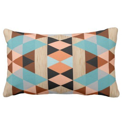 Rustic Diamond Squares Triangles Wood Art Pattern Outdoor Pillow - retro gifts style cyo diy special idea