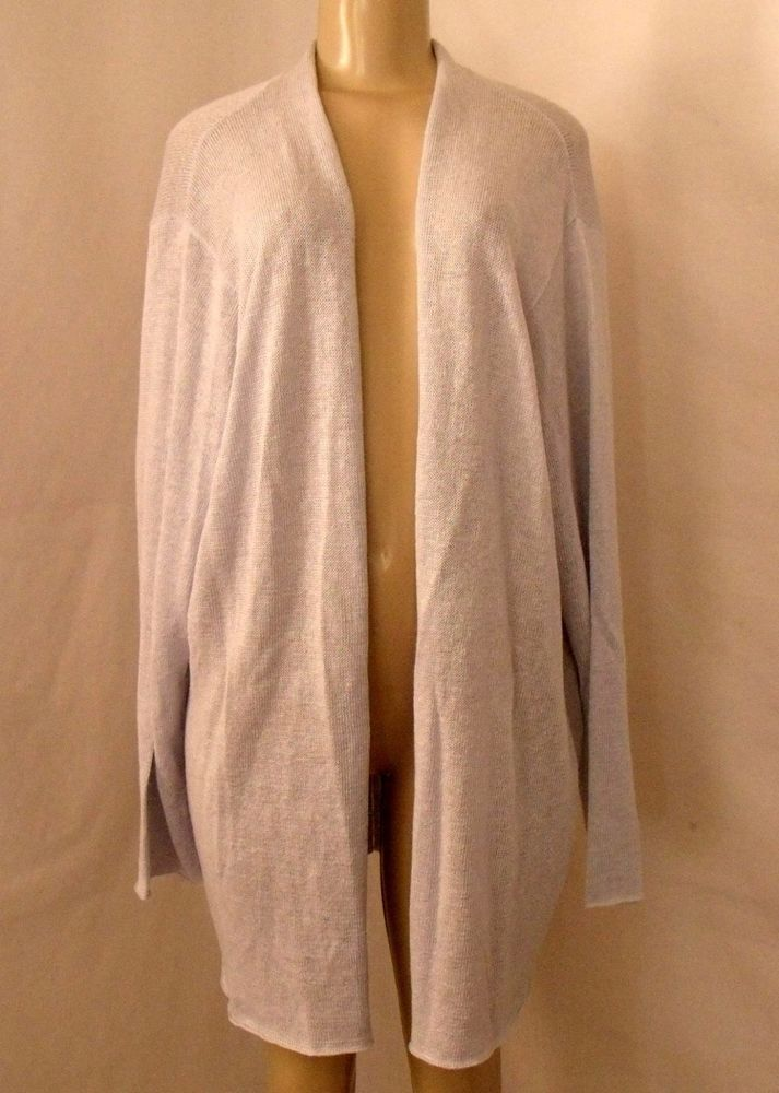 EILEEN FISHER 3X Cardigan Sweater Pale Powder Blue Open Long Knit ...