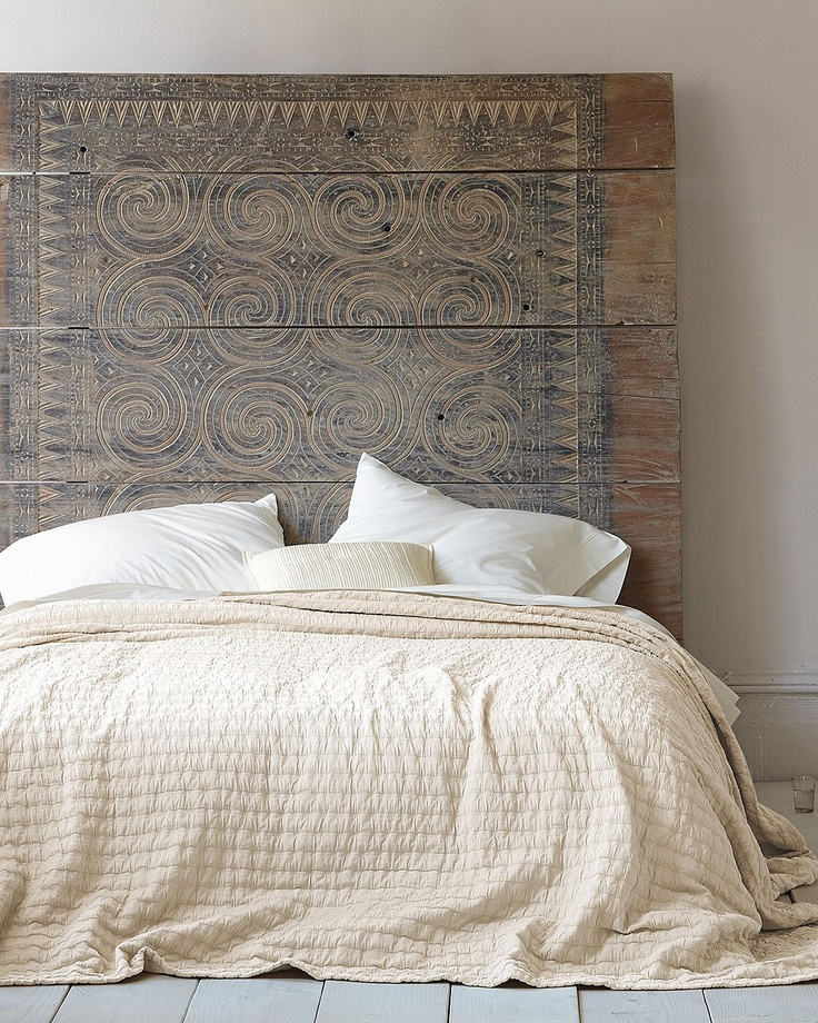 Eileen Fisher Rippled Cotton Coverlet...Love the peaceful ivory/cream & the most awesome headboard...