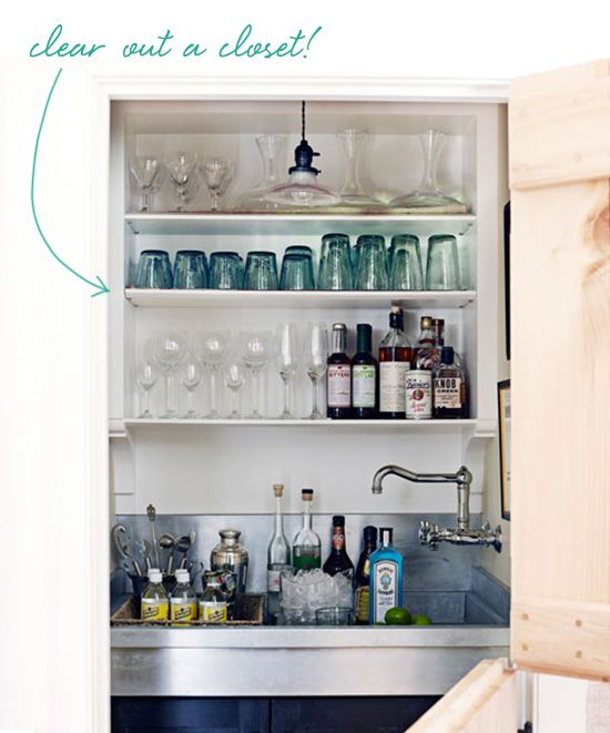 put your bar in your closet. no, really.