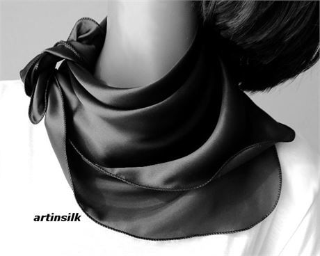 Black Silk Charmeuse Scarf, Small Square Pure Silk Satin. I also make this scarf in pale silver gray and inChocolate Brown.   The brown one is ready to ship, the black one and the silver gray one will be ready within 3working days following your order. Please contact me if you want any of the other out of stock colors as I can make them for you within 5 business days.   I offer this scarf in brown, black, natural white, silver gray. Any of the colors are shipped within 5 working days.   This…