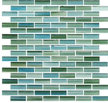 Rip Curl Green and Blue Hand Painted Glass Mosaic Subway Tile, 10 Square Feet - contemporary - Mosaic Tiles - Rocky Point Tile