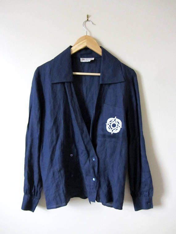80s Gucci Double Breasted Button Up Navy Linen Blouse