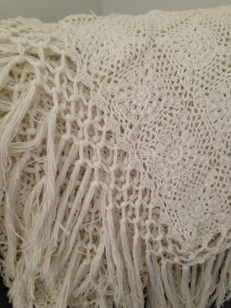 GORGEOUS HAND MADE CROCHET THROW WITH TASSEL BORDER IN NATURAL 100% COTTON  bohocollective.com.au