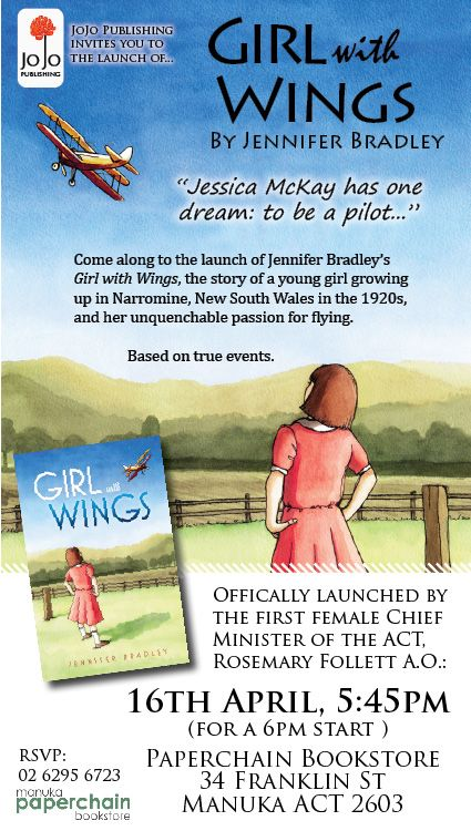 Girl With Wings by Canberra resident Jennifer Bradley is a lovely young adult fiction book that encourages girls to follow their dreams, even if they're doing things that men traditionally do such as flying!