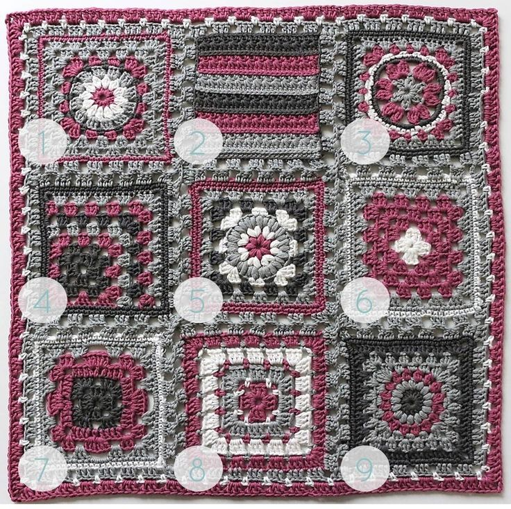 Crochet meets Patchwork Afghan by Pasta & Patchwork | Fuchsia Granny Squares Pattern Round-up