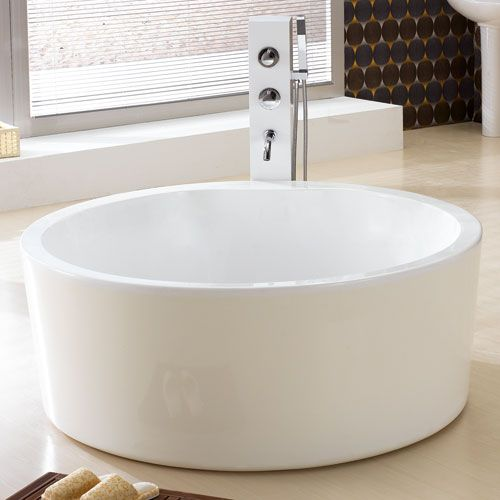 "59"" Dana Acrylic Round Soaking Tub Tub dimensions: 58-3/4 ..."