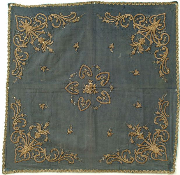 Blue Velvet Cover A late 19th century square velvet cover with four elaborate corners and a geometric central medallion. Embroidery is done in a filled couch stitch.