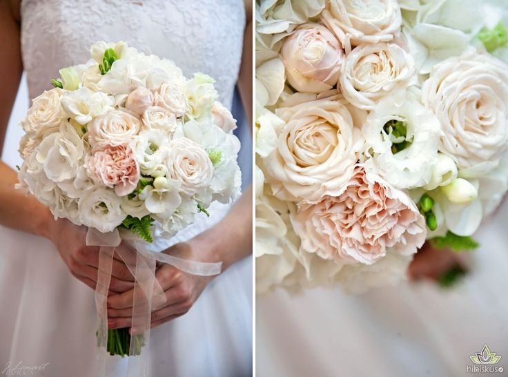 White hydragea, roses, carnation and lisianthus bridal bouquet