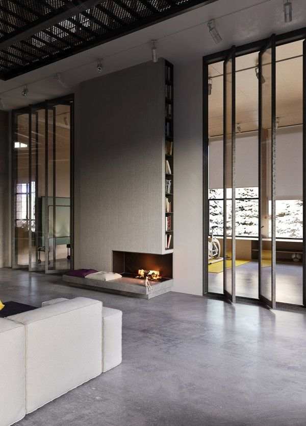 A streamlined bookshelf hides in the side of the chimneybreast above the faux-fireplace.